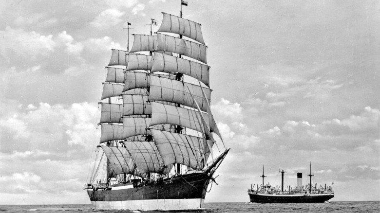 """Bild aus alten Tagen: So sah die """"Peking"""" früher aus, als sie noch regelmäßig nach Südamerika segelte."""
