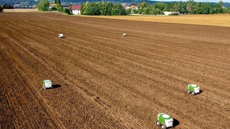 Fahren von allein: Die batteriebetriebenen Roboter legen Maiskörner auf dem Acker ab. Foto: Fendt