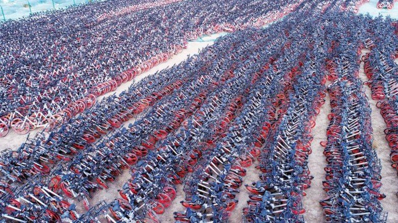 Bikesharing führte in China zum Desaster: Ramponierte Leihräder von Mobike in der Stadt Yinchuan. Foto: dpa