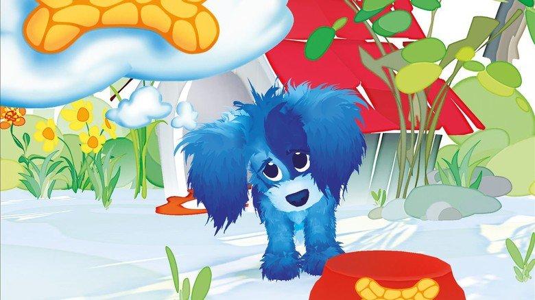 """App """"Lazuli"""": Ein blauer, kleiner Hund bekommt erst dann seine Knochen, wenn er bestimmte Aufgaben gelöst hat."""