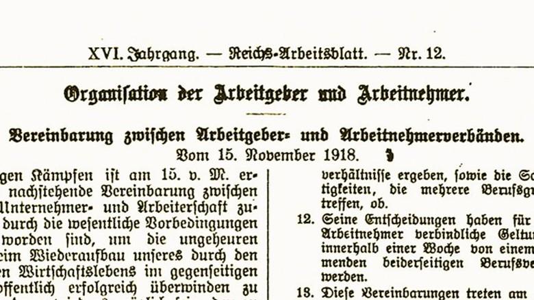Das Stinnes-Legien- Abkommen: Es legte 1918 die Basis für eine konstruktive Zusammenarbeit. Foto: Repro
