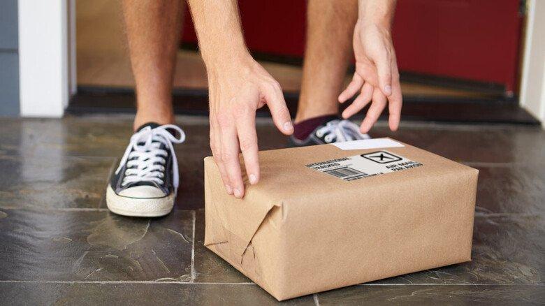 Glück gehabt: Bote weg, aber Paket noch da.