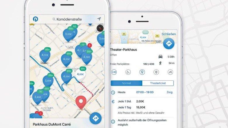 Mit der App Parkpocket finden Stadtbesucher schnell einen freien Parkplatz. Foto: Screenshot