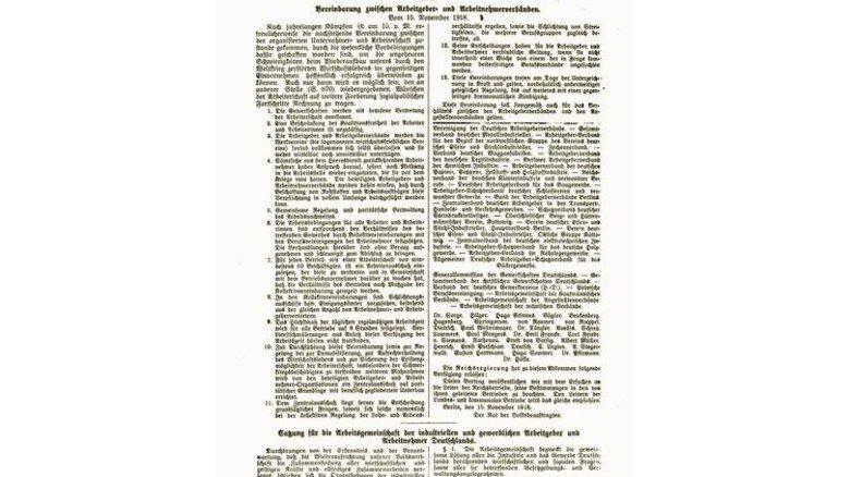 Meilenstein der Geschichte: Mit diesem Abkommen begründeten die Vertreter von Arbeitgebern und Arbeitnehmern vor 100 Jahren die Tarifautonomie.
