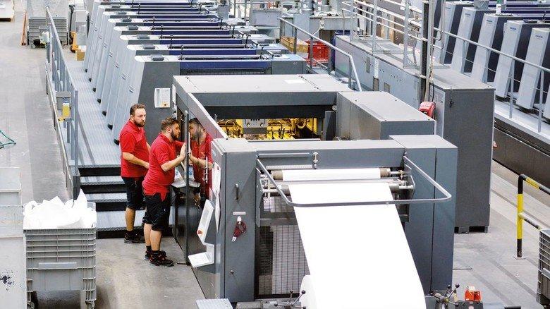 Hightech: Diese Druckmaschine mit acht Farb- und zwei Lackwerken produziert rund um die Uhr Etiketten...