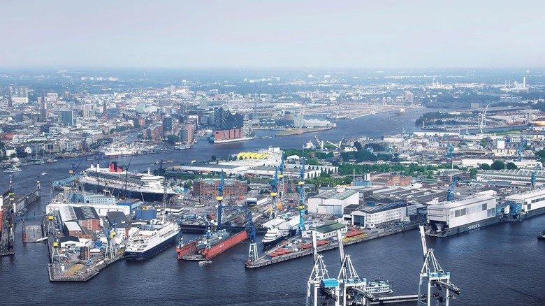 Im Herzen von Hamburg: Die Traditionswerft Blohm+Voss gehört seit Ende 2016 zur Bremer Lürssen-Gruppe.