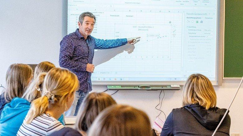 Mathe mit Smartboard: Schulleiter Jens Mittag in einer Klasse. Tabellenkalkulation ist selbstverständlicher Teil seines Unterrichts.