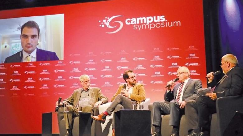 Live-Schalte: Jan-Philipp Burgard diskutierte aus den USA über die Zukunft der Medien mit. Foto: higo.