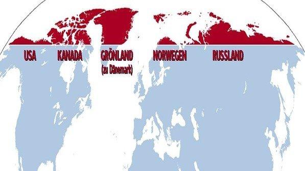 Um diese Region geht es: Was nördlich des Nordpolarkreises liegt, gehört zur Arktis. Hier sind es die rot eingefärbten Landflächen sowie das umgebende Meer. Grafik: Wikipedia/AKTIV