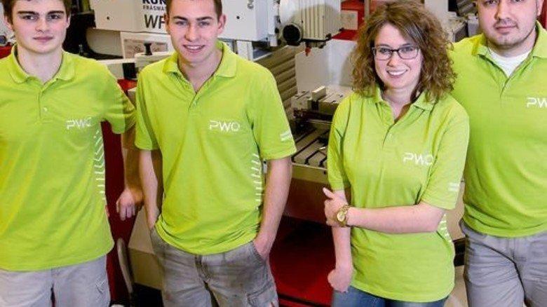 Reisefreudig: Dominik Walz, Marco Blust, Sarah Baschnagel und Denis Gartwick (von links) nutzten das Angebot ihres Arbeitgebers. Foto: Mierendorf