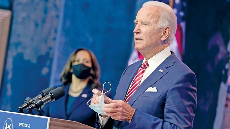 Freundschaft mit Europa: Der künftige US-Präsident Joe Biden und Kamala Harris, ab 20. Januar 2021 die erste schwarze Vizepräsidentin, bei einer Veranstaltung in Bidens Heimatstadt Wilmington.