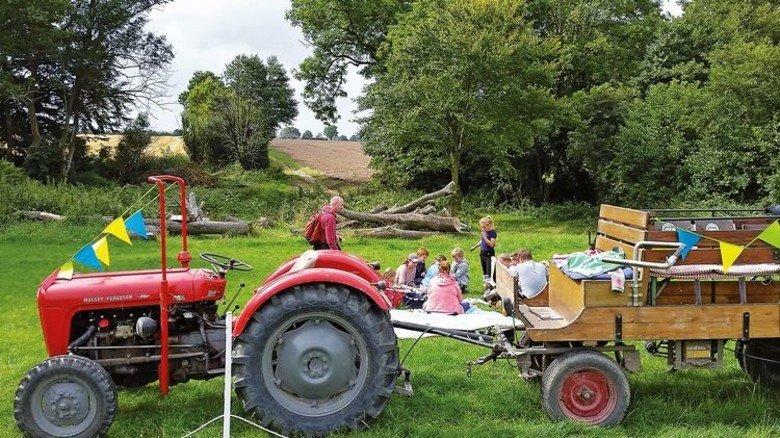 Abenteuer Treckerfahren: Besucher auf dem Lindenhof in Ahneby im Norden von Schleswig-Holstein. Foto: Lindenhof