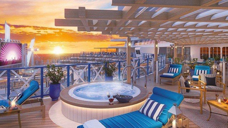 """Wellness: Für alle Passagiere, die Erholung suchen, hat die """"Global 1"""" eine luxuriöse Spa-Ausstattung. Foto: MV Werften"""