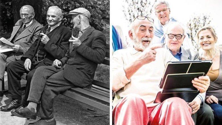 Tablet statt Pfeife: Rentner wollen am Puls der Zeit und fit bleiben. Fotos: Fotolia, akg-images