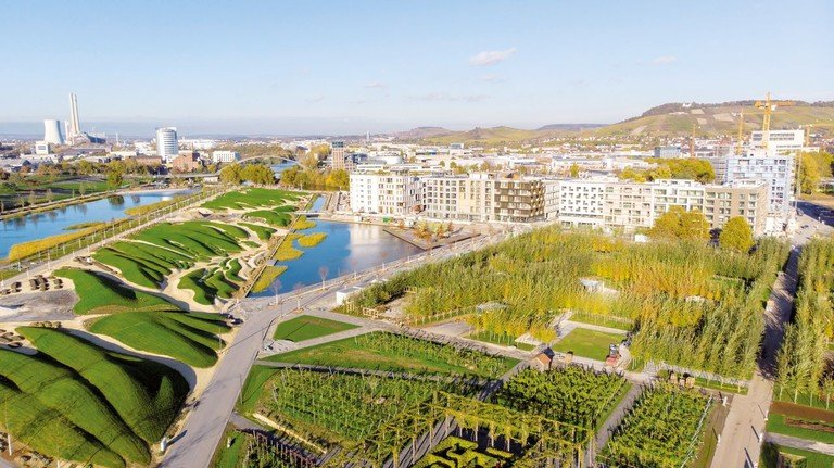 Grüne Oase: Blick auf das Bundesgartenschau-Gelände