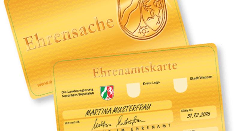 Beispiel NRW: Ehrenamtskarte passt in die Geldbörse. Grafik: Landesregierung