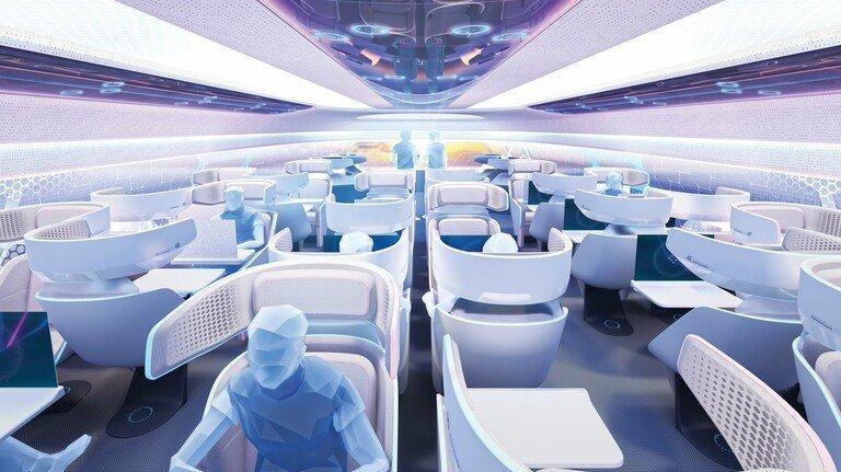 """Für das Fliegen von Morgen: Der Flugzeugbauer Airbus siegte mit seiner """"Airspace Cabin Vision 2030""""."""