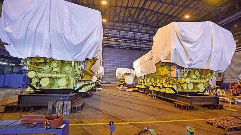 Antrieb: Das Schiff erhält sechs MAN-Motoren, die eine Gesamtleistung von 96.000 Kilowatt haben. Die Abgasreinigungsanlage kommt vomn Alfa Laval. Foto: Christian Augustin