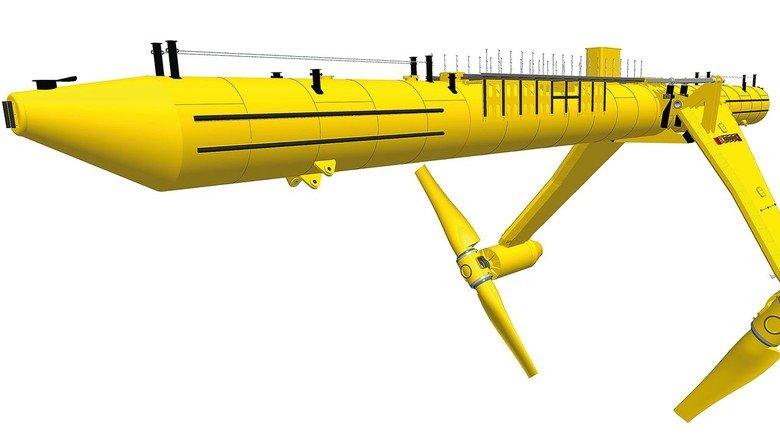 Unter Wasser: Zwei Rotoren mit 20Meter Durchmesser nutzen die Strömung der Gezeiten, um mit ihrer Kraft Strom zu gewinnen.
