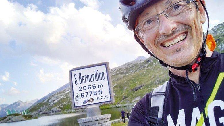 Stolze Leistung: Reschl fuhr an einem Tag mit dem Rad 440 Kilometer zum Lago Maggiore. Foto: Privat