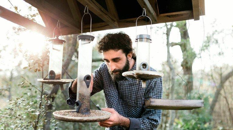 Macht Spaß: Wer Spender mit Körnern und Fettfutter bestückt, kann sich über viele verschiedene Vogelarten freuen.