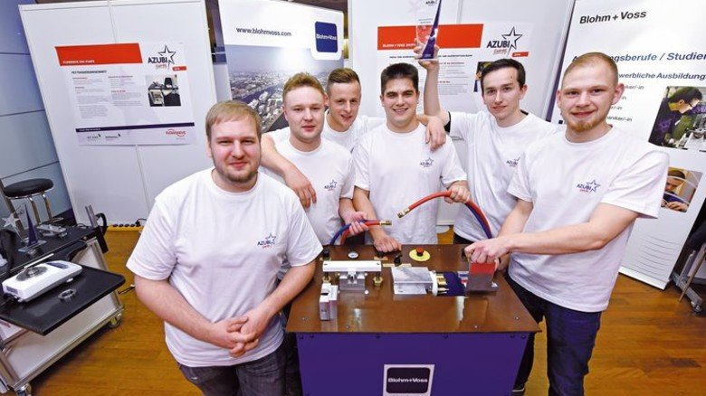 Gewinner: Die Azubis von Blohm + Voss überzeugten mit ihrer Arbeit. Foto: Nordmetall