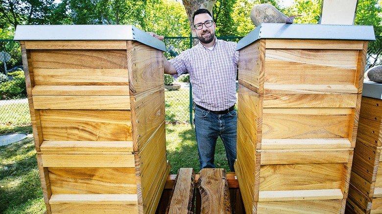 Hobby-Imker Franz Bendel mit seinen Bienenstöcken.