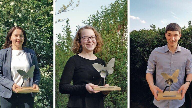 Sie wurden für ihr Engagement belohnt: Lehrerin Natalya Wenzlawski sowie die Nachwuchstalente Carina Braig und Niklas Hornung (von links).