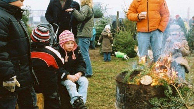 Nach getaner Arbeit: Die Waldbesucher wärmen sich an der Feuerstelle auf. Foto: Gutsverwaltung Schönau