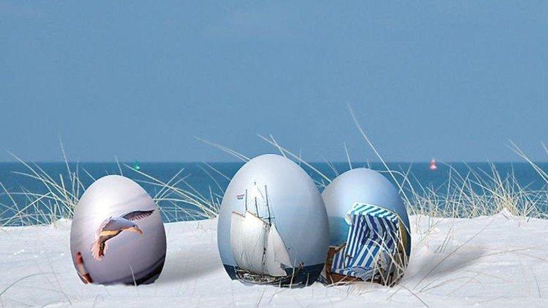 Fürs Auge: Mit Strandmotiven bemalte Eier an der Ostsee. Foto: ostsee.de Info