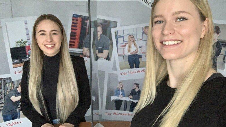 """Annabelle (links) und Leonie, angehende Industrie-Kauffrauen beim Fahrzeugtüren-Spezialisten Gebrüder Bode in Kassel: """"Das Interview war eine tolle neue Erfahrung."""""""