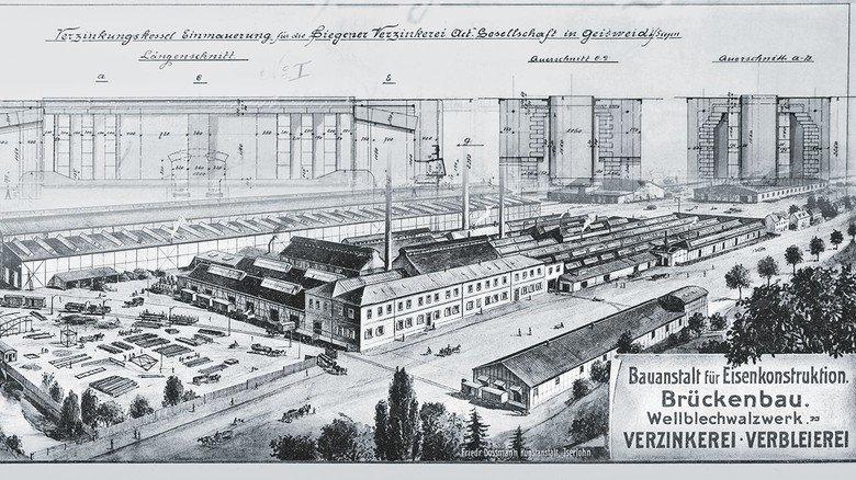 Historischer Kupferstich: Er zeigt das weitläufige Gelände der Fabrik anno 1909 in Siegen.