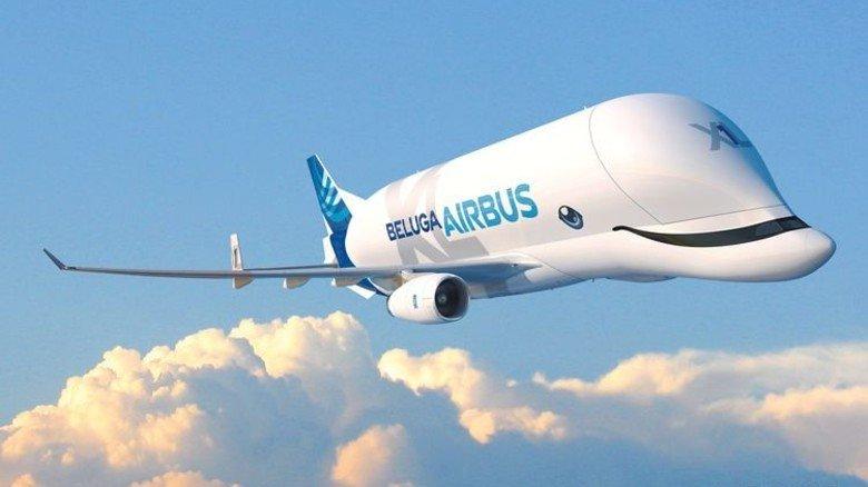 """Fliegender Wal: Die """"Beluga XL"""" kann 53 Tonnen Nutzlast transportieren. Foto: Airbus"""