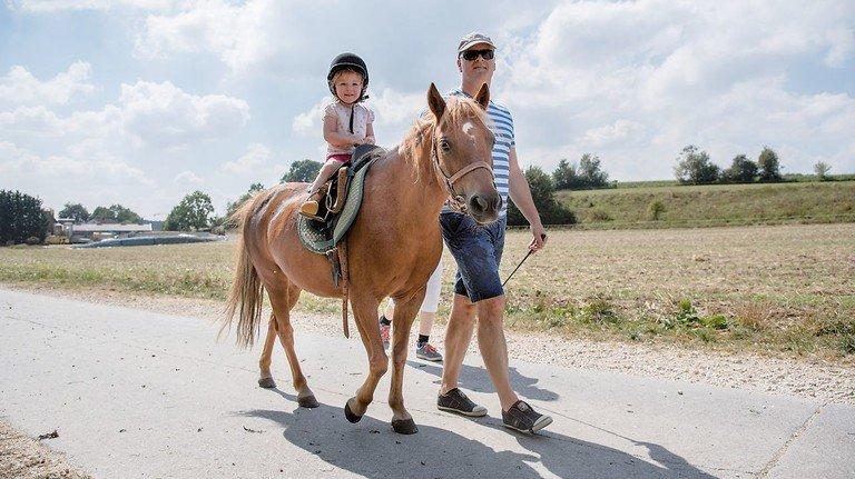 Früh übt sich: Auf braven Ponys schnuppern Mini-Reiter Pferdeluft.