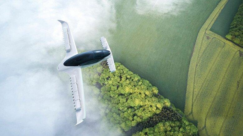 Probeflug: Ein Elektro-Flugtaxi von Lilium. Das Unternehmen plant ab 2024 in Bayern seine ersten Flugdienste.