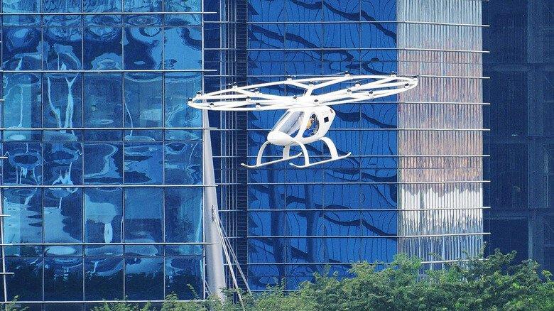 Abgehoben: Präsentation eines Lufttaxis von Volocopter in Singapur (Asien).