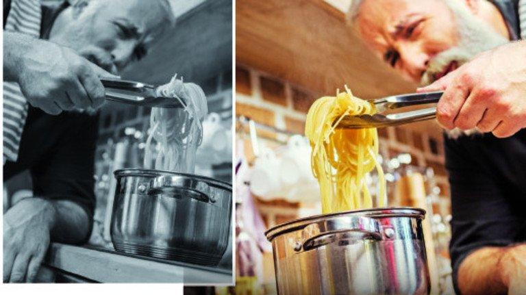 Meistens hier, manchmal dort: Spaghetti gelingen auch in einer kleinen Küche.