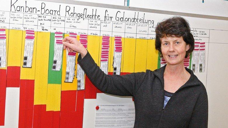 Aufgeräumt und organisiert: Ulrike Lindner mit Kanban-Karten im Leitstand ...
