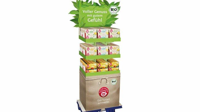 Nachhaltig: Dieses Display für Bio-Tee ist zu 100 Prozent aus recyceltem Material.