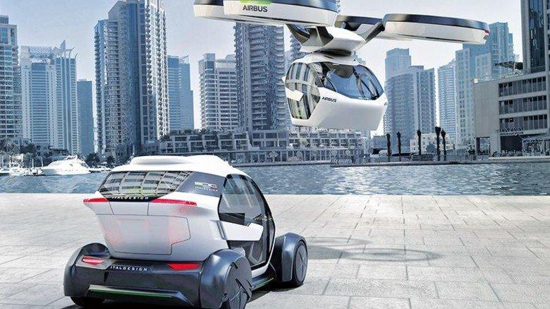 Noch ein Zukunftsprojekt: Bei diesem Auto steigt die Kapsel in die Luft. Illustration: Werk