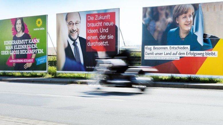 Wahlplakate am Straßenrand: In einer Woche wird der neue Bundestag gewählt. Foto: dpa