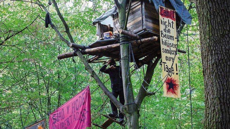 Protest gegen den Abbau von Braunkohle: Baumhaus im Hambacher Forst im Rheinland. Foto: Getty