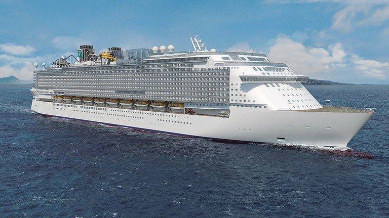"""Rekordschiff: So soll die """"Global 1"""" aussehen, wenn sie 2020 abgeliefert wird. Foto: MV Werften"""