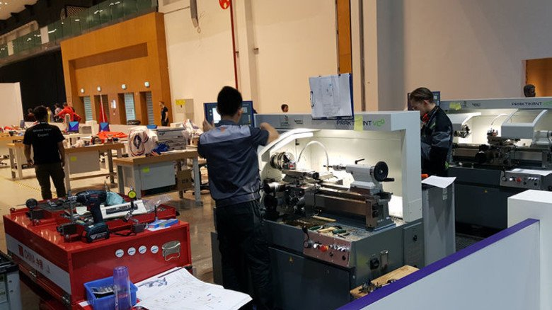 Die WorldSkills wurden 2017 in Abu Dhabi ausgetragen. Weiler und das Schwesterunternehmen Kunzmann stellten 28 Maschinen zur Verfügung. Foto: Werk