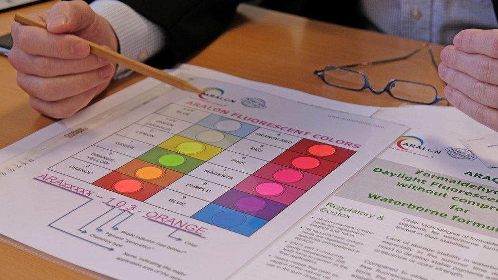 Ein Ampelsystem zeigt Kunden an, wie sie welches Pigment nach welchen Regularien einsetzen können.