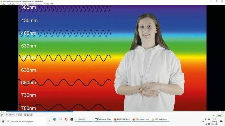 Die Farben des Regenbogens: Die Schülerinnen und Schüler beschäftigten sich in ihren Videobeiträgen unter anderem mit dem Spektrum des Lichtes.