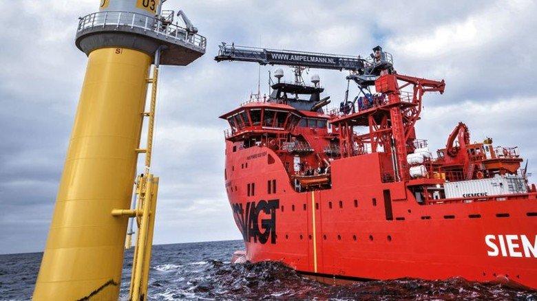 Hightech-Arbeitsweg: In 20 Metern Höhe dockt die Gangway an die Plattform der Turbine an. Foto: Werk