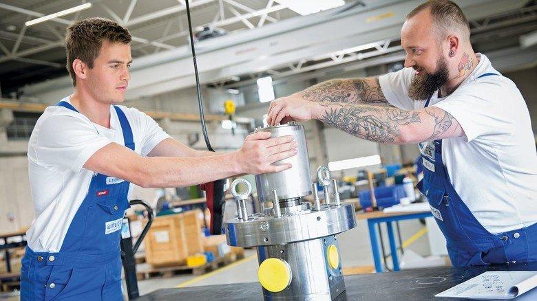 Montage: Die Teile für die Pumpenproduktion kommen mehrheitlich von regionalen Zulieferern.