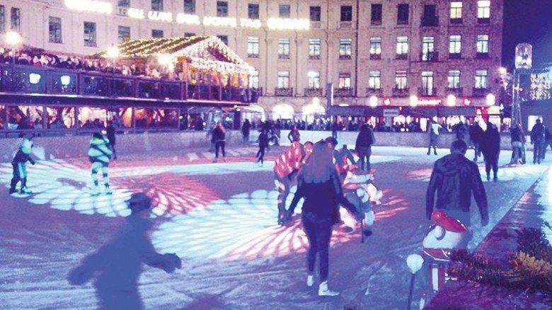 Eislaufen auf dem Münchner Karsplatz. Foto: Stadt München