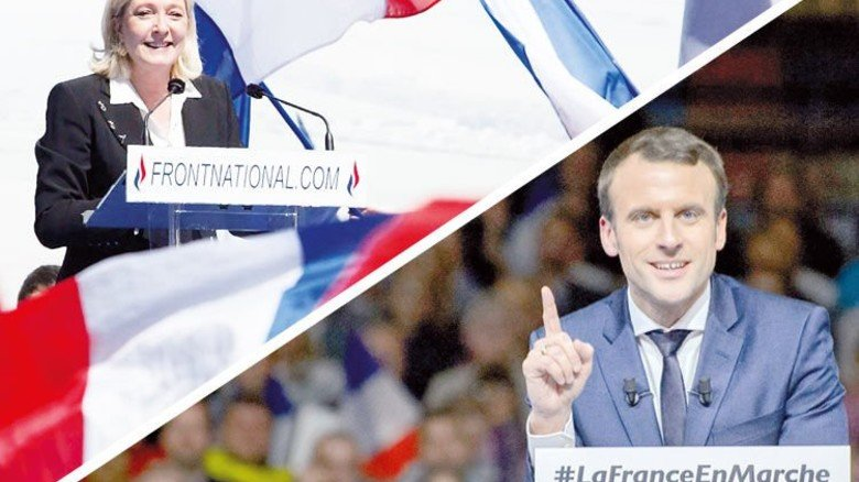 Die Favoriten: Marine Le Pen und Emmanuel Macron. Fotos: dpa